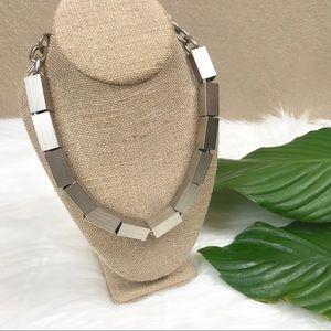 {Ben Amun} Silver Metal Cube Slider Necklace
